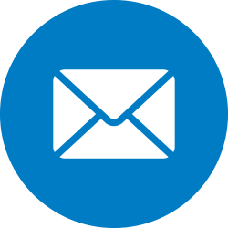 Envelope in a blue circle