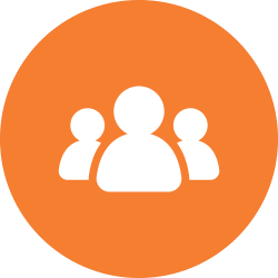 Three people in an orange circle