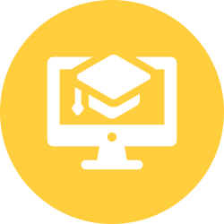 Computer with a graduation cap in a yellow circle