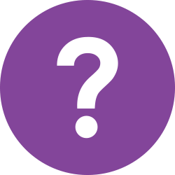 Question mark in a purple circle