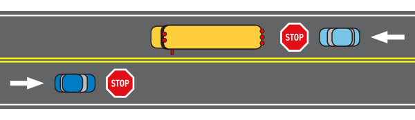 Illustration of when to stop for a bus on a road with two lanes.