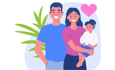 Family holding child