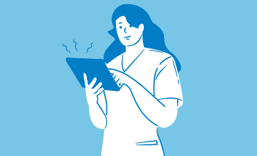 Illustration of a person using a tablet