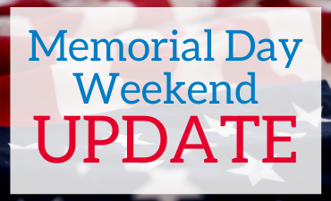 memorial day weekend update with American flag in background.