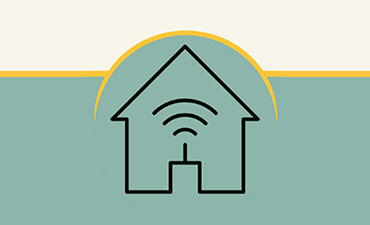 Illustration of a house with a wifi icon inside