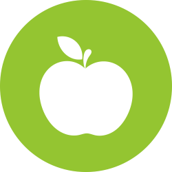 Apple in a green circle