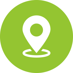 Location icon in a green circle